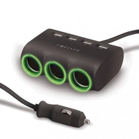 Rozdzielacz zapalniczki x3 i 4 x USB Forever 4,8A