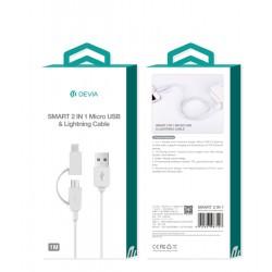 Kabel USB 2 w 1: micro USB + lightning Devia
