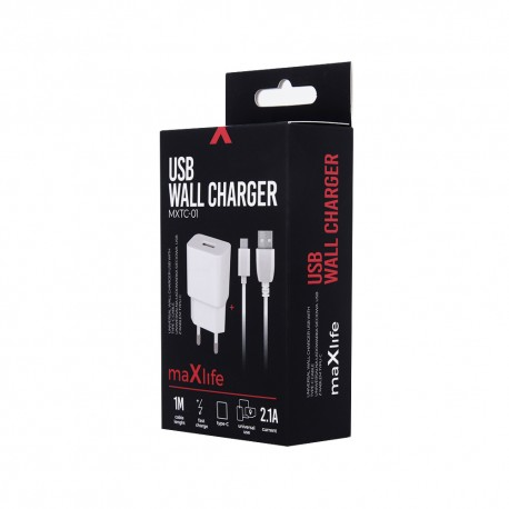 Ładowarka sieciowa USB-C MaxLife 2.1A + kabel