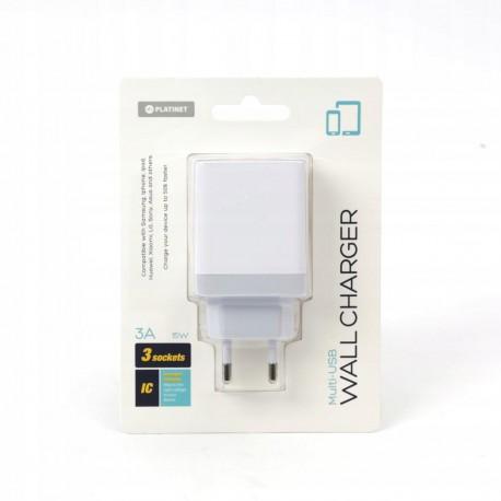 Ładowarka sieciowa PLATINET 3 x USB 3A biała
