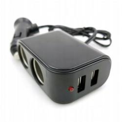 Rozdzielacz gniazda zapalniczki x2 + 2 x USB