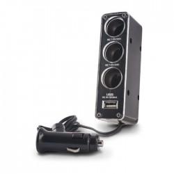 Rozdzielacz zapalniczki: 3 x gniazdo samochodowe + USB